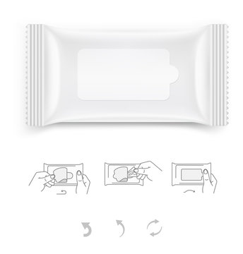Wet wipes packing isolated on white background. Vector illustration