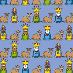 Christmas background. three wise men and camels