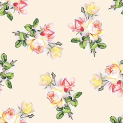 Seamless pattern with delicate roses. Original hand drawn watercolor painting.