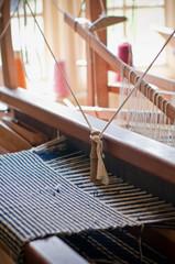 Old vintage wool; weaving loom