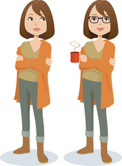 Young woman in casual attire standing with arms crossed, holding a mug of hot coffee