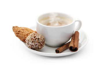 cup of coffee with steam and chocolate candy, cookie and cinnamo