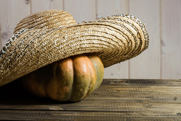 Pumpkin in straw hat