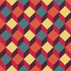 Vector modern seamless colorful geometry square pattern, color  abstract geometric background, trendy multicolored print, retro texture, hipster fashion design