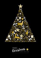 Merry christmas happy new year gold xmas tree deer