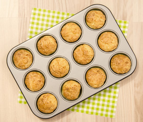 Muffins in a tray. Twelve muffins in a tin tray.