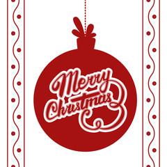 Vector Merry Christmas card. Vector christmas ball with Christmas lettering