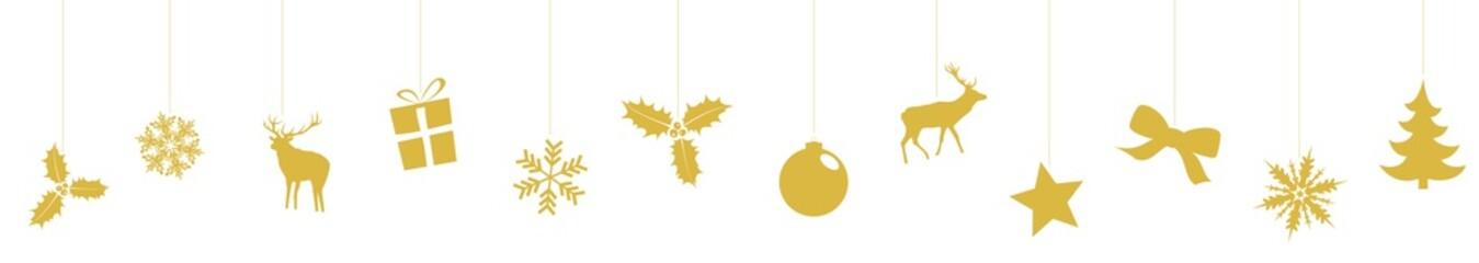 Frise de Noël - Version simple dorée
