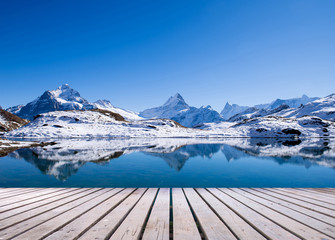 Foto op Canvas Reflectie first mountain grindelwald switzerland