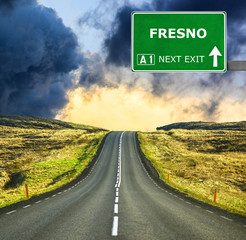 FRESNO road sign against clear blue sky