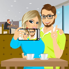 couple taking selfie photo together