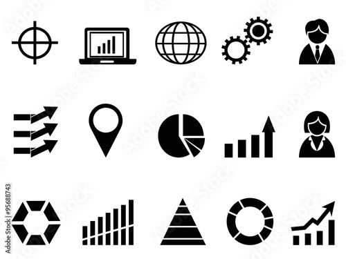 black business infographic icons set stock image and royalty free