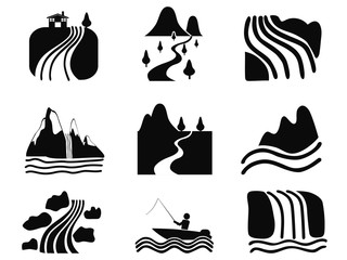 black river icons set