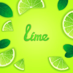 Photorealistic fruity composition with lime slices around and inscription. Food creative template