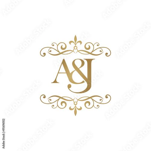 u0026quot a u0026j initial logo  ornament ampersand monogram golden logo u0026quot  stock image and royalty