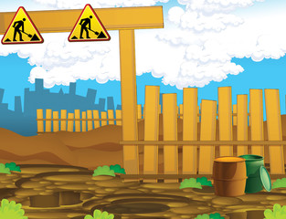 Cartoon scene of a construction site - stage for different usage - entrance - illustration for children