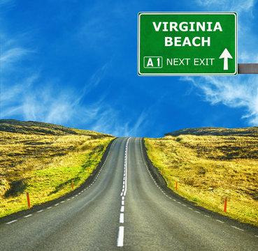 VIRGINIA BEACH road sign against clear blue sky