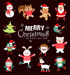 Set of funny Christmas Characters. Cute animals. Vector illustration.