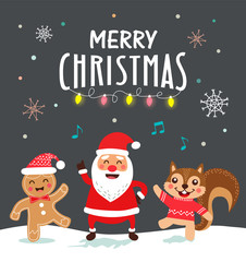 Funny christmas card and poster design. Vector illustration.