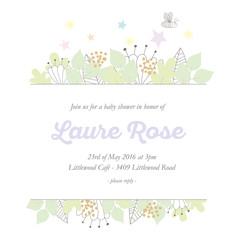 Babyshower invitation card with banner and hand drawn nature elements. Vector design.