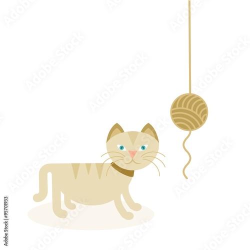 Dibujo De Un Gato De Color Beig Jugando Con Un Ovillo De Lana Stock