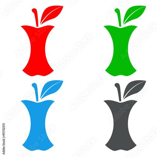 Icono plano manzana mordida en varios colores\