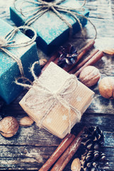 Festive Boxes Decorated with Linen Cord, Natural Decor. Toned image