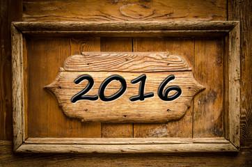Holzschild 2016
