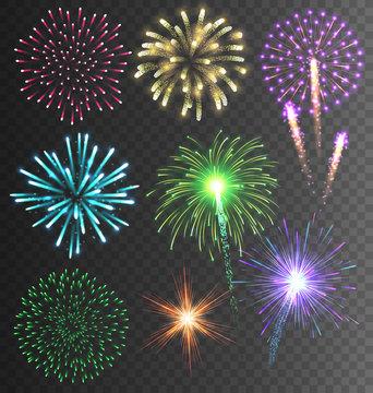 Festive Colorful Firework Salute Burst on Transparent Background