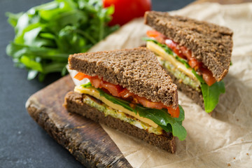 Spoed Fotobehang Snack Vegan sandwich with salad and cheese