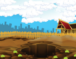 Cartoon scene of a construction site - stage for different usage - illustration for children