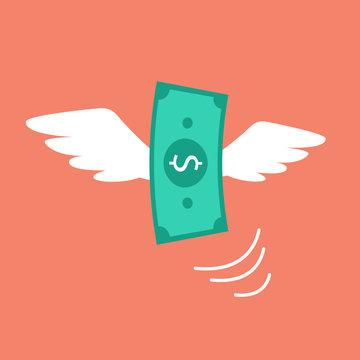 Money flying like a bird