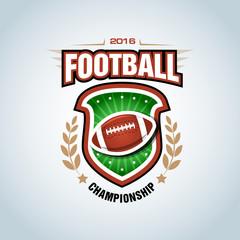 American football logo template, badge, t-shirt, label, emblem. Vector illustration.