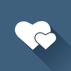 Vector two hearts icon