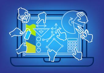 Vector illustration of digital workspace