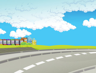Cartoon background - city - illustration for the children