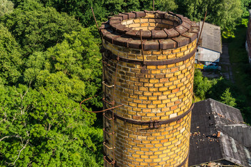 Schornstein verlassene Fabrik Luftbild
