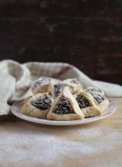 Hamantaschen cookies or hamans ears Purim celebration