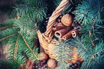 Natural Christmas Decor in a Rural Basket. Nuts, Fir Tree, Cinnamon