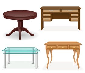 set icons furniture table vector illustration