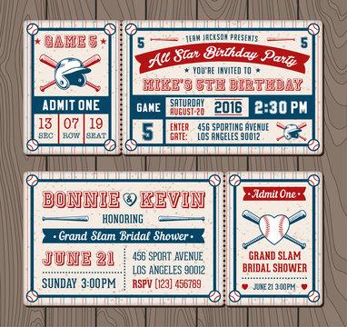Vector Baseball Event Invites