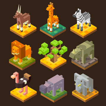 Isometric 3d african animal set: antelope, giraffe, zebra, lion, baobab, rhinoceros, ostrich, hippopotamus, elephant. Flat isometric vector stock set.