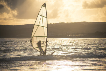 A windsurfer in Mount's Bay in Cornwall, England