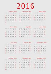 Vector calendar grid for 2016. Rigorous design.