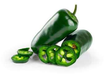 Green chilies (jalapeno) isolated on white background.
