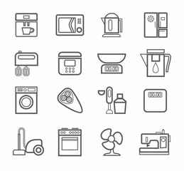 Household appliances, icons, line, white background.