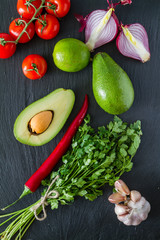 Guacamole sauce and ingredients