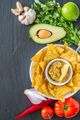 Guacamole sauce, nachos and ingredients