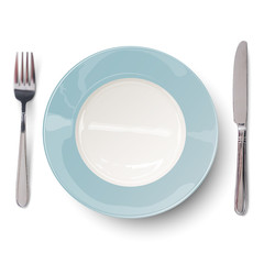 Empty plate in blue design with knife and fork isolated