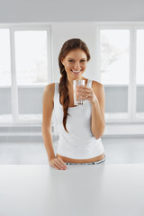 Diet Concept. Happy Healthy Woman With Glass Of Water. Drinks. Lifestyle.